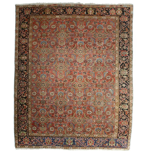 Antique Hand Knotted Wool Persian Hariz Rug Handmade in Iran (Persia).