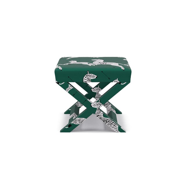 Not Yet Made - Made To Order Scalamandre X Bench in Emerald Zebra For Sale - Image 5 of 5