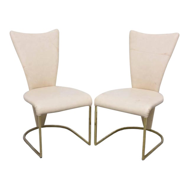 Design Institute of America Post-Mod Brass Dining Chairs, Set of Four, 1980s For Sale
