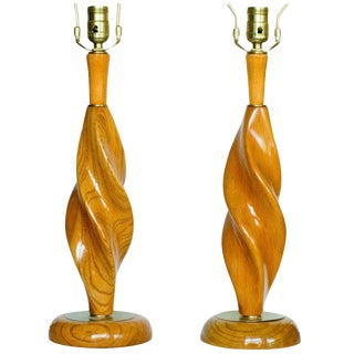 Pair of Carved Spiral Mid-Century Lamps For Sale