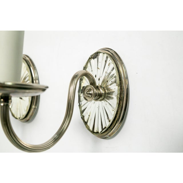 Caldwell Mirrored Silver Sconces (pair) For Sale In San Francisco - Image 6 of 7