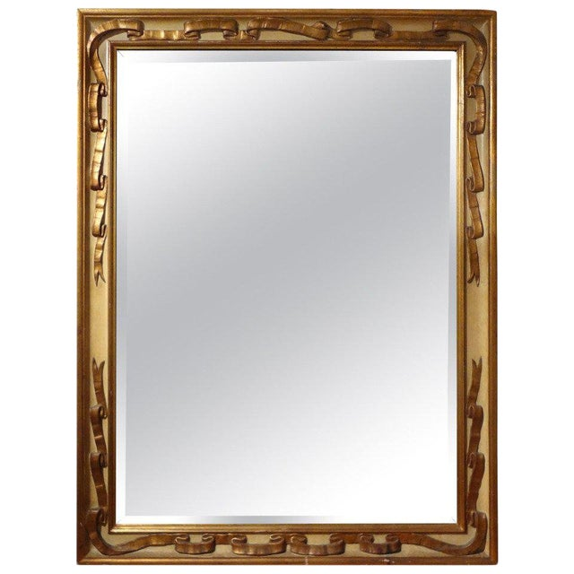 Italian Rectangular Painted and Gilt Wood Beveled Mirror For Sale