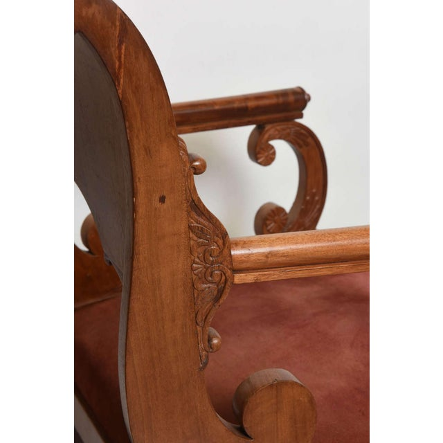 Red Set of Four Russian Neoclassic Mahogany Armchairs For Sale - Image 8 of 9
