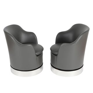 1980'S VINTAGE PHILLIP ENFIELD TILT AND SWIVEL BARREL CHAIRS- A PAIR For Sale