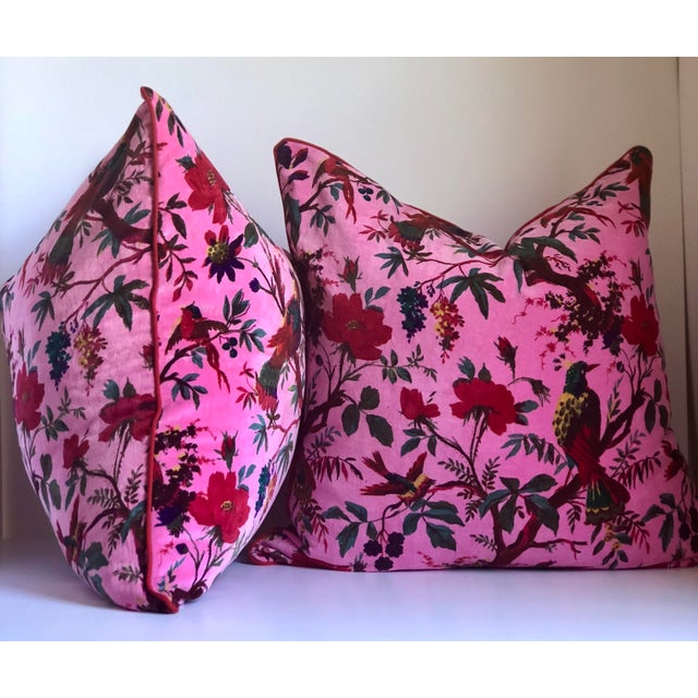 "24"" Custom Chinoiserie Cotton Velvet Fabric Pillow- a Pair For Sale - Image 4 of 5"