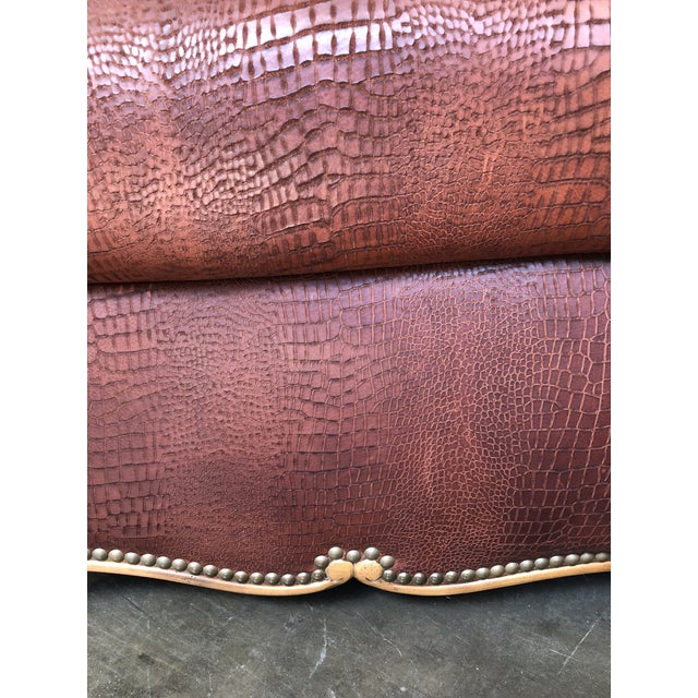 Red Ralph Lauren Home Marseilles Leather Club Chair For Sale - Image 8 of 10