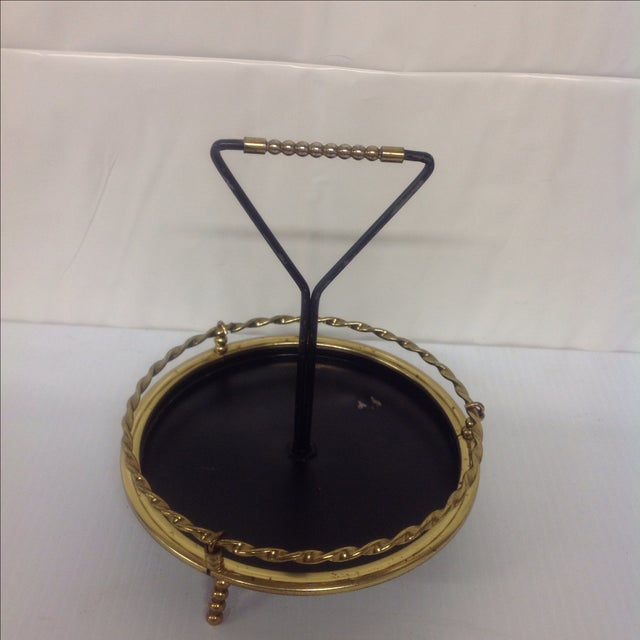 MidCentury Brass & Black Lacquer Catch All Dish For Sale - Image 5 of 5