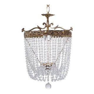 Vintage Italian Brass Basket Chandelier For Sale