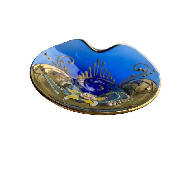 Mid-Century Modern Murano Hand Painted Dish For Sale - Image 3 of 5