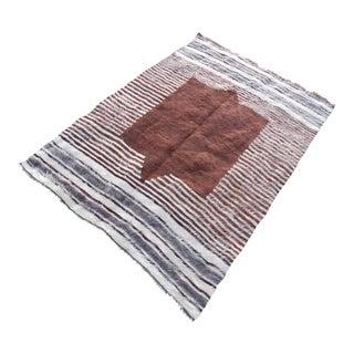 Bohemian Brown Blanket Rug - 4′1″ × 5′9″ For Sale
