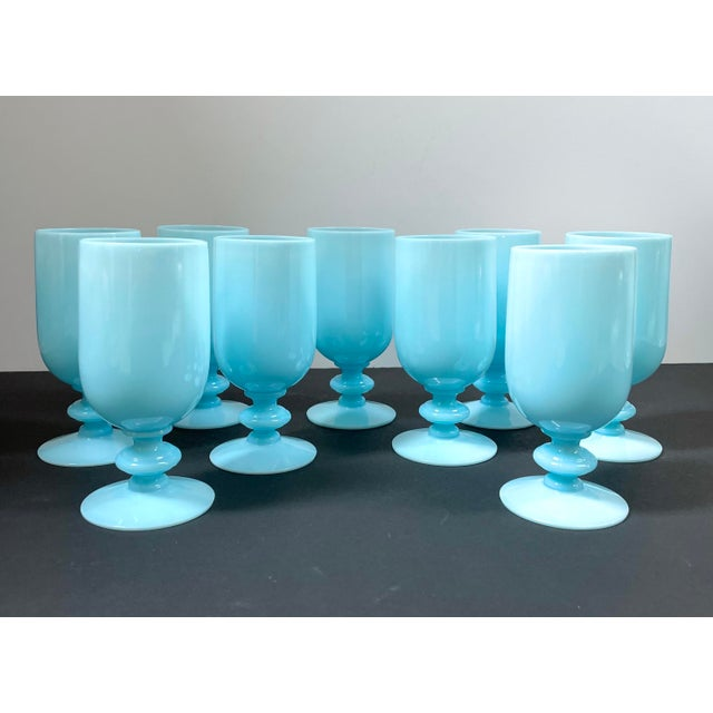 1930s Portieux Vallerysthal French Blue Opaline Cocktail / Low Stem Wine Glasses - Set of 9 For Sale - Image 13 of 13