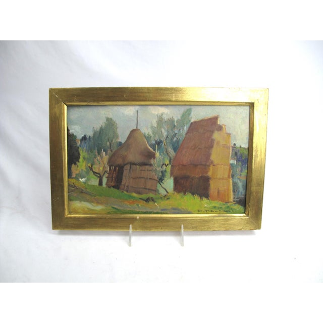 Wood 1950s Vintage Desiderio Tanfani Italian Landscape Oil on Board Painting For Sale - Image 7 of 7