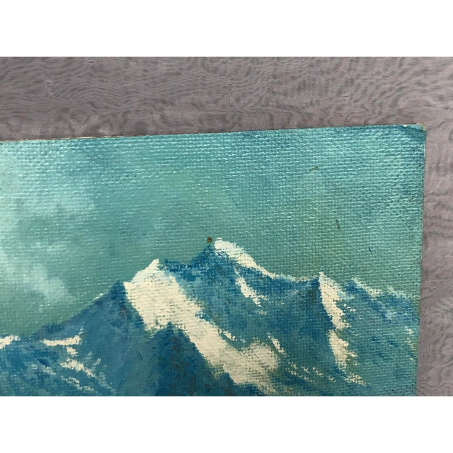 Mid 20th Century Mountain Landscape Oil Painting For Sale - Image 4 of 13