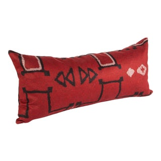 Red Geometric Lumbar Pillow For Sale