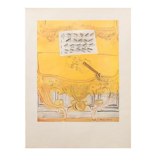 1950s American Classical Lithograph, Yellow Console With a Violin by Dufy For Sale