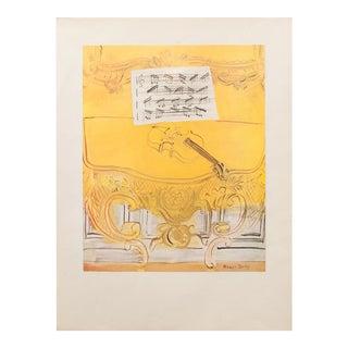 1950s Dufy, Yellow Console With a Violin Original Lithograph For Sale