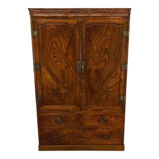 Japanese 2 Piece Tansu Chest Cabinet For Sale