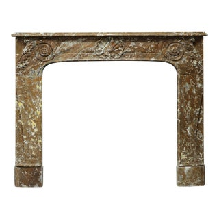 19th Century Rouge de Mazy Marble Louis XV Fireplace Mantel For Sale