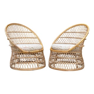Mid-Century Boho Chic Bent Rattan Barrel Club Chairs - a Pair For Sale