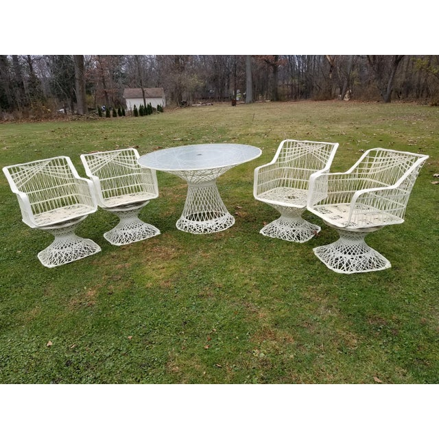 White Russell Woodard Spun Swivel Fiberglass Style Chair Table Patio Set 5 Pc For Sale - Image 8 of 11