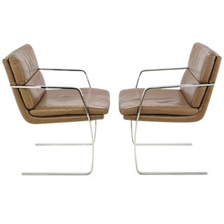 Pair of Pace Chrome and Mocha Leather Cantilevered Armchairs For Sale