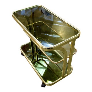 Morex Italian Bar Cart With Castors and Smoked Glass