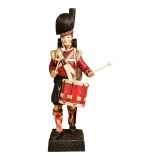 19th Century Scottish Carved Polychrome Wood Figure of Military Drummer