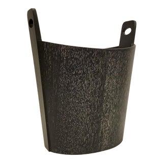 Global Views Modern Black Cerused Oak Wastebasket For Sale