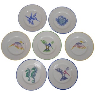 1980s Limoges Painted Plates - Set of 10 For Sale