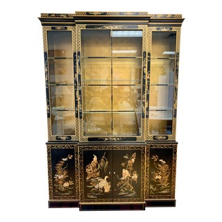 Black Lacquer Chinoiserie China Cabinet Breakfront For Sale