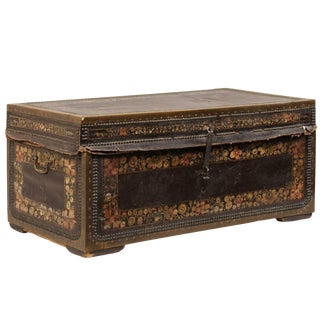 19th Century Chinese Wood and Hand Painted Leather Trunk With Nail Head Accents For Sale