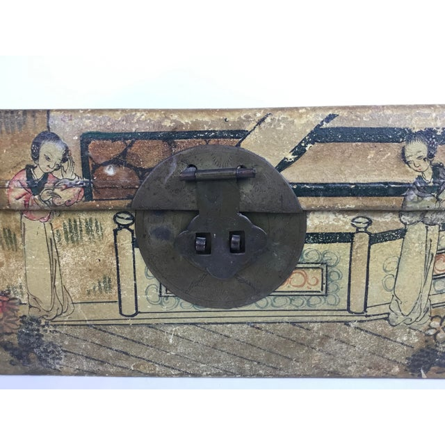 Tan 19th C. Asian Hand Painted Hide Box For Sale - Image 8 of 12