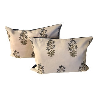Modern Boho Chic Ivory & Blue Pillows- a Pair Hand Printed Linen Fabric For Sale