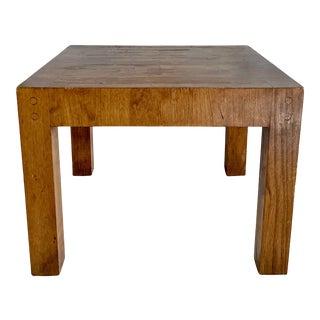 Vintage Distressed Butcher Block Side Table For Sale
