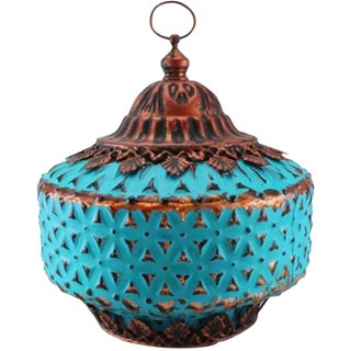 Moroccan Nights Vintage Turquoise Lantern For Sale