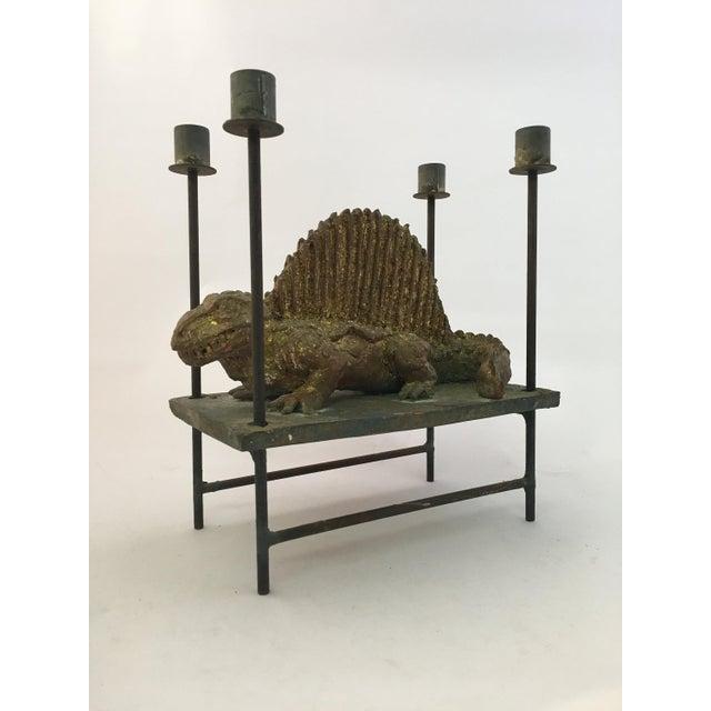 Thoym Rebusi Studio Tom McCanna Gilt Terracotta Dimetrodon Candleholder For Sale - Image 11 of 11