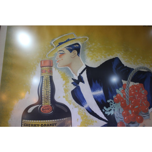 "Yellow Cherry Brandy Maurice Chevalier 70"" Lithographic Poster by Roger De Valerio 1935 For Sale - Image 8 of 12"