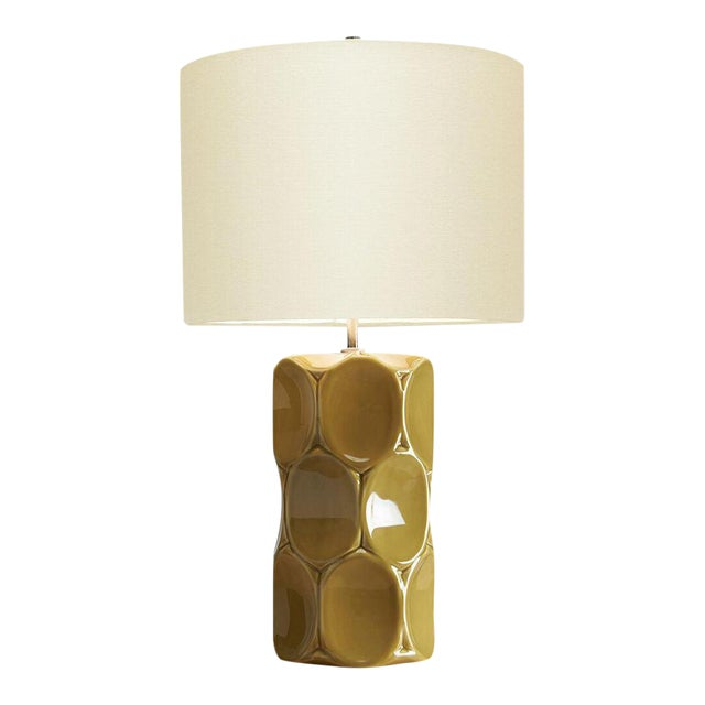 Modern Green Glaze Ceramic Retro Table Lamp With Shade For Sale