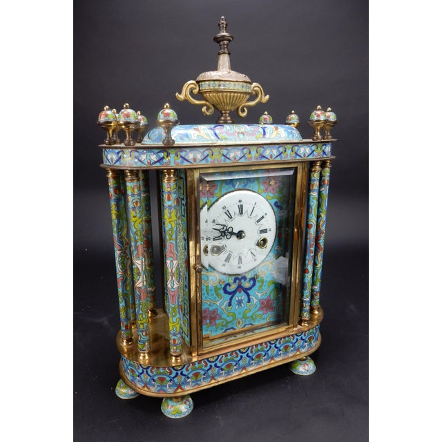 "Asian Chinese Export Bronze and Cloisonné Mantle Clock Excellent Working Condition 19"" For Sale - Image 3 of 13"