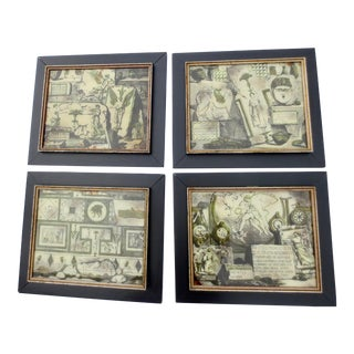 1960s Vintage Italian 18th Century Engraving Reverse Glass Prints - Set of 4 For Sale