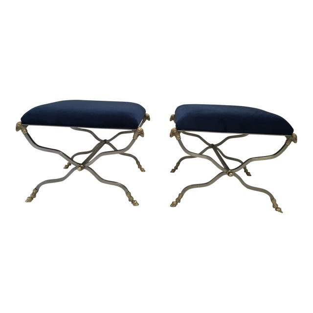 Italian Steel & Brass X Base Stools, a Pair For Sale