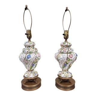 1950s Capo DI Monte Multi Color Floral Table Lamps W/ Gold Trim - a Pair For Sale