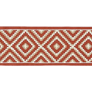 Sample, Scalamandre Medina Embroidered Tape, Carnelian For Sale