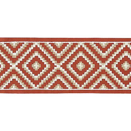 Sample, Scalamandre Medina Embroidered Tape, Carnelian For Sale