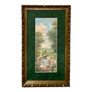 Vintage Impressionist Landscape Victorian Garden Watercolor Painting Richard Gabriel Chase For Sale