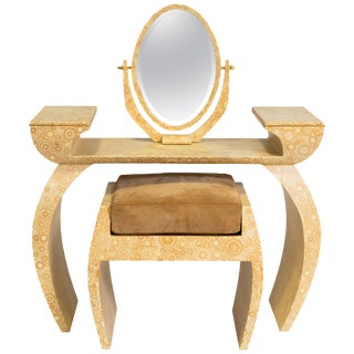R & Y Augousti Bone Vanity Table and Bench For Sale