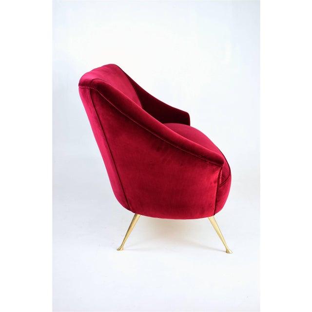 Italian Midcentury Velvet Sofa in the Manner of Ico Parisi, 1950s For Sale - Image 11 of 13