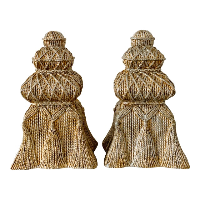 Gold and Silver Ceramic Tassel Bookends - a Pair For Sale