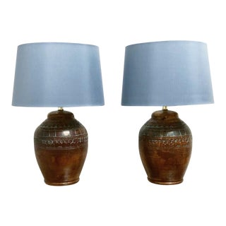 1980s Vintage Pottery Table Lamps by Elite - a Pair For Sale