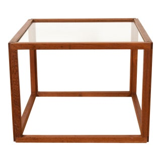 Danish Modern Glass Top Cube Table For Sale